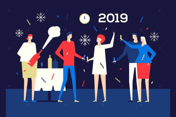 2019新年主题扁平化矢量插画1 Happy new year 2019 – flat design illustration