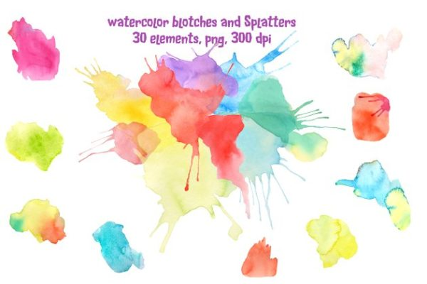 水彩油墨斑点/飞溅图案 Watercolor Blotches and Splatters